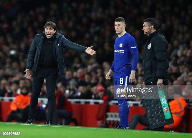 Ross Barkley of Chelsea prepares to come onto the pitch for an injured Willian during the Carabao Cup SemiFinal Second Leg at Emirates Stadium on...