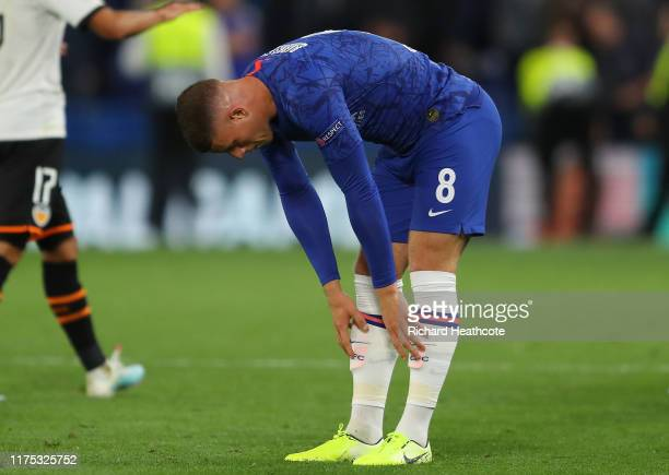 Ross Barkley of Chelsea reacts after the UEFA Champions League group H match between Chelsea FC and Valencia CF at Stamford Bridge on September 17...