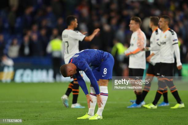 Ross Barkley of Chelsea reacts after the UEFA Champions League group H match between Chelsea FC and Valencia CF at Stamford Bridge on September 17,...