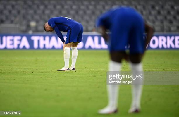 Ross Barkley of Chelsea reacts after the UEFA Champions League round of 16 second leg match between FC Bayern Muenchen and Chelsea FC at Allianz...