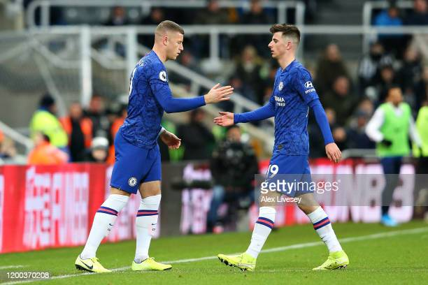 Ross Barkley of Chelsea replaces teammate Mason Mount as a substitute during the Premier League match between Newcastle United and Chelsea FC at St....