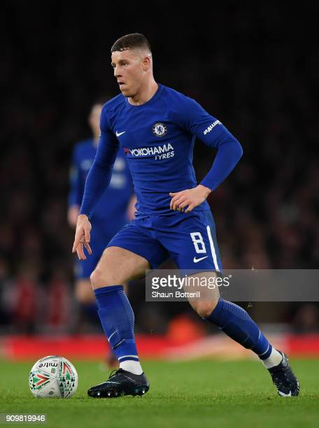 Ross Barkley of Chelsea runs with the ball during the Carabao Cup SemiFinal Second Leg at Emirates Stadium on January 24 2018 in London England
