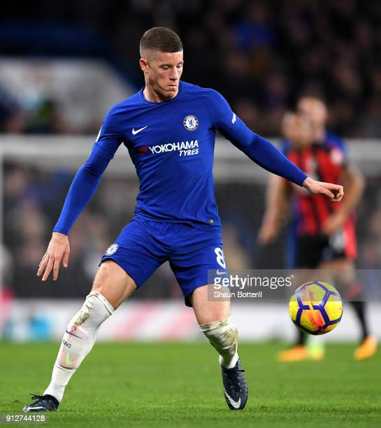 Ross Barkley of Chelsea runs with the ball during the Premier League match between Chelsea and AFC Bournemouth at Stamford Bridge on January 31 2018...