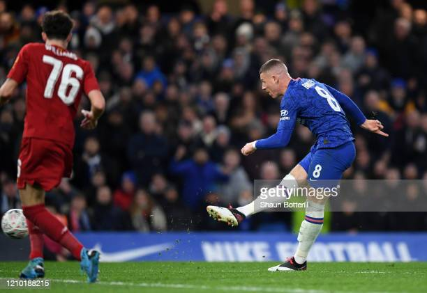 Ross Barkley of Chelsea scores his sides second goal during the FA Cup Fifth Round match between Chelsea FC and Liverpool FC at Stamford Bridge on...