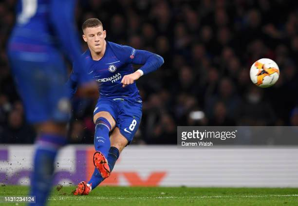 Ross Barkley of Chelsea scores his sides second goal during the UEFA Europa League Round of 32 Second Leg match between Chelsea and Malmo FF at...