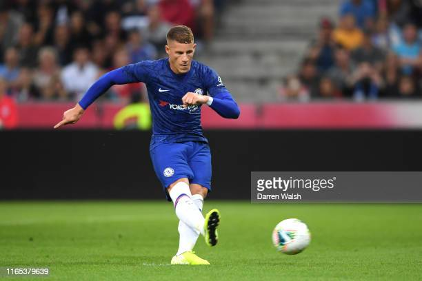 Ross Barkley of Chelsea scores his sides second goal from the penalty spot during the preseason friendly match between RB Salzburg and FC Chelsea at...