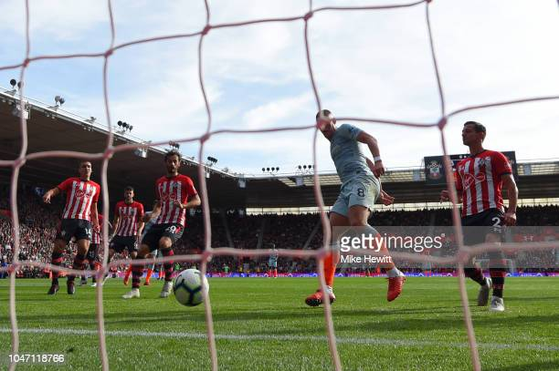 Ross Barkley of Chelsea scores his team's second goal during the Premier League match between Southampton FC and Chelsea FC at St Mary's Stadium on...