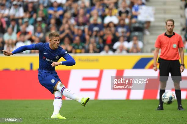 Ross Barkley of Chelsea scores his team's second goal during the pre-season friendly match between Borussia Moenchengladbach and FC Chelsea at...