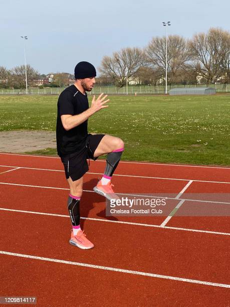 Ross Barkley of Chelsea trying to keep fit on April 9 2020 in Liverpool England