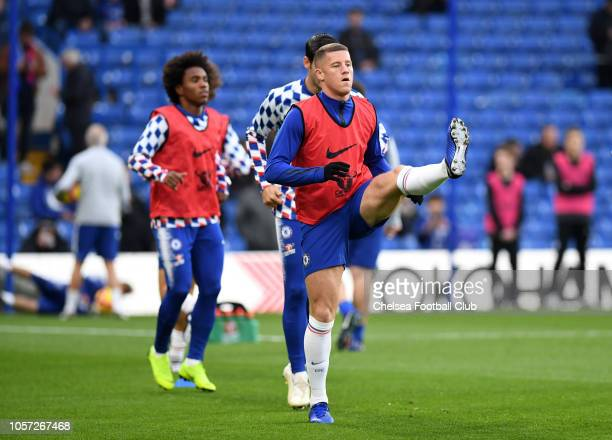 Ross Barkley of Chelsea warms up prior to the Premier League match between Chelsea FC and Crystal Palace at Stamford Bridge on November 4 2018 in...