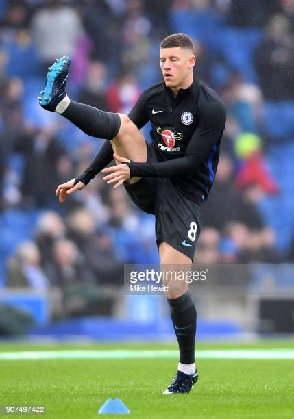 Ross Barkley of Chelsea warms up prior to the Premier League match between Brighton and Hove Albion and Chelsea at Amex Stadium on January 20 2018 in...