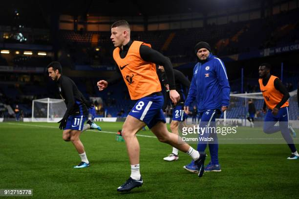 Ross Barkley of Chelsea warms up prior to the Premier League match between Chelsea and AFC Bournemouth at Stamford Bridge on January 31 2018 in...