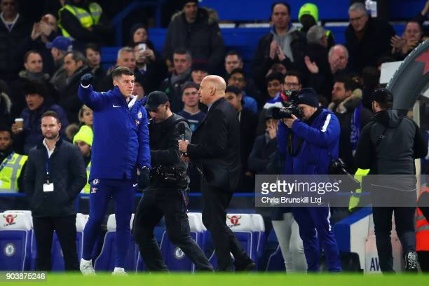 Ross Barkley of Chelsea waves to the crowd at halftime during the Carabao Cup SemiFinal first leg match between Chelsea and Arsenal at Stamford...