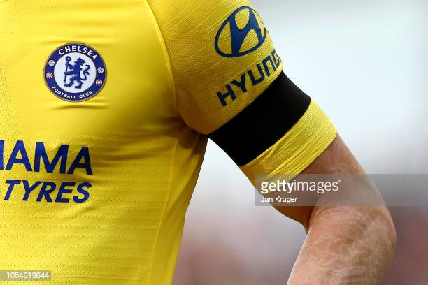 Ross Barkley of Chelsea wears a black armband for Remembrance Day during the Premier League match between Burnley FC and Chelsea FC at Turf Moor on...