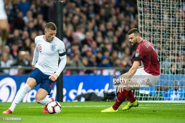 Ross Barkley of England and Ondrej Celustka of Czech Republic during the 2020 UEFA European Championships group A qualifying match between England...