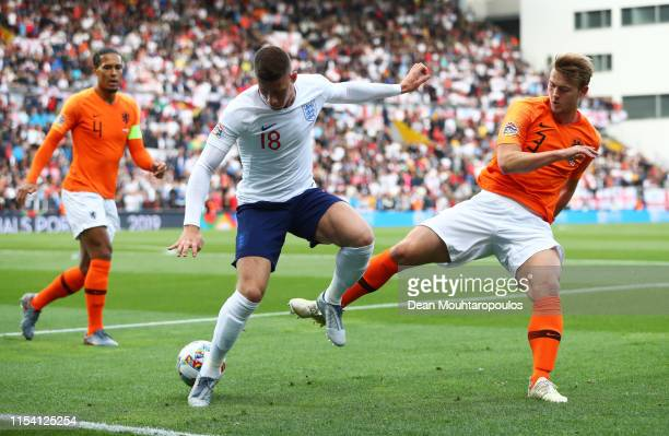 Ross Barkley of England battles with Matthijs de Ligt of the Netherlands during the UEFA Nations League SemiFinal match between the Netherlands and...