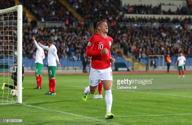 Ross Barkley of England celebrates after scoring his sides second goal during the UEFA Euro 2020 qualifier between Bulgaria and England on October 14...