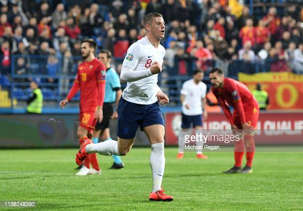 Ross Barkley of England celebrates after scoring his team's third goal during the 2020 UEFA European Championships Group A qualifying match between...