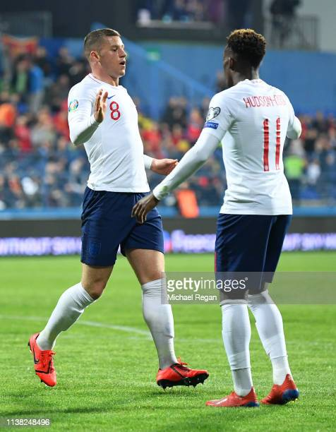 Ross Barkley of England celebrates after scoring his team's third goal with Callum HudsonOdoi during the 2020 UEFA European Championships Group A...