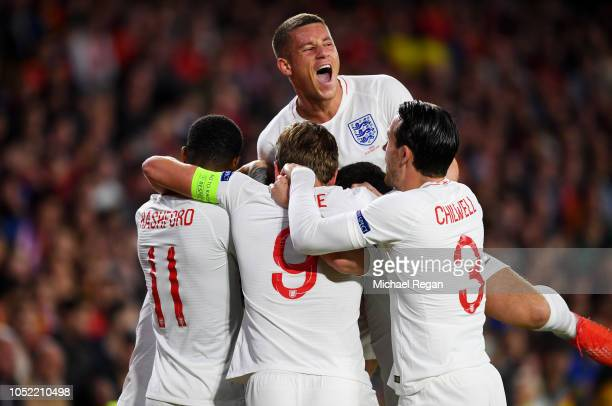 Ross Barkley of England celebrates with team mates as as Raheem Sterling of England scores his team's first goal during the UEFA Nations League A...