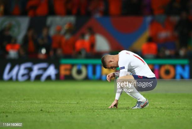 Ross Barkley of England looks dejected in defeat after the UEFA Nations League SemiFinal match between the Netherlands and England at Estadio D...