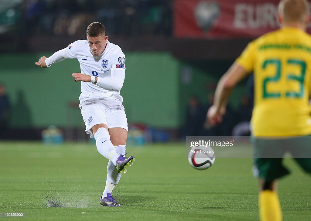 Ross Barkley of England scores their first goal during the UEFA EURO 2016 qualifying Group E match between Lithuania and England at LFF Stadionas on October 12, 2015 in Kaunas, Lithuania.