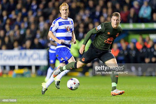 Ross Barkley of Everton and Alex Fernandez during the Capital One Cup match between Reading and Everton at Madejski Stadium on September 22 2015 in...