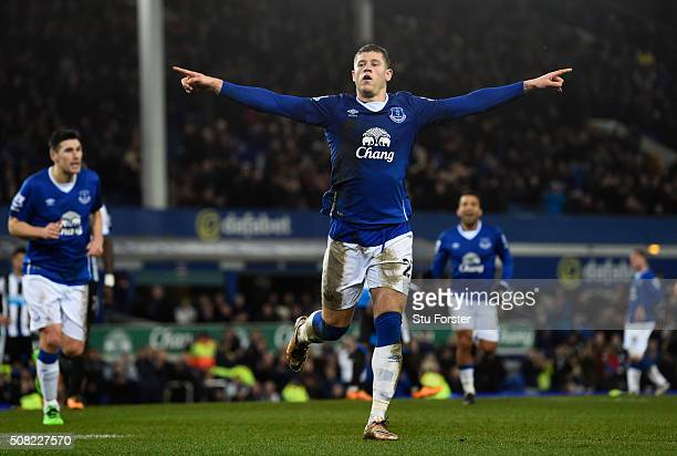 Ross Barkley of Everton celebates after scoring his team's third goal from the penalty spot during the Barclays Premier League match between Everton...