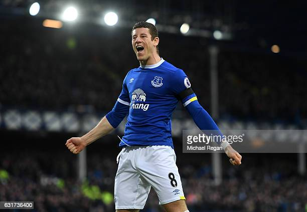 Ross Barkley of Everton celebrates after teammate Kevin Mirallas scores their team's second goal during the Premier League match between Everton and...