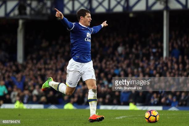 Ross Barkley of Everton celebrates before scoring his side's sixth goal during the Premier League match between Everton and AFC Bournemouth at...