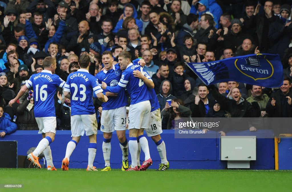 Ross Barkley (3rdL) of Everton celebrates his team's third goal with team mates during the Barclays Premier League match between Everton and Swansea City at Goodison Park on March 22, 2014 in Liverpool, England.