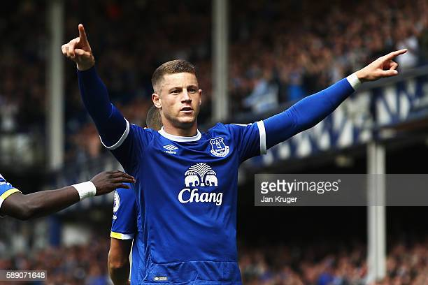 Ross Barkley of Everton celebrates scoring his sides first goal during the Premier League match between Everton and Tottenham Hotspur at Goodison...