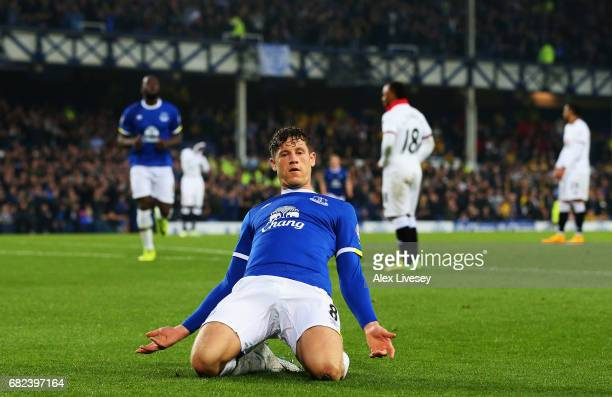Ross Barkley of Everton celebrates scoring his sides first goal during the Premier League match between Everton and Watford at Goodison Park on May...