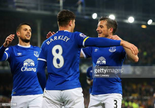 Ross Barkley of Everton celebrates scoring his sides first goal with Kevin Mirallas of Everton and Leighton Baines of Everton during the Premier...