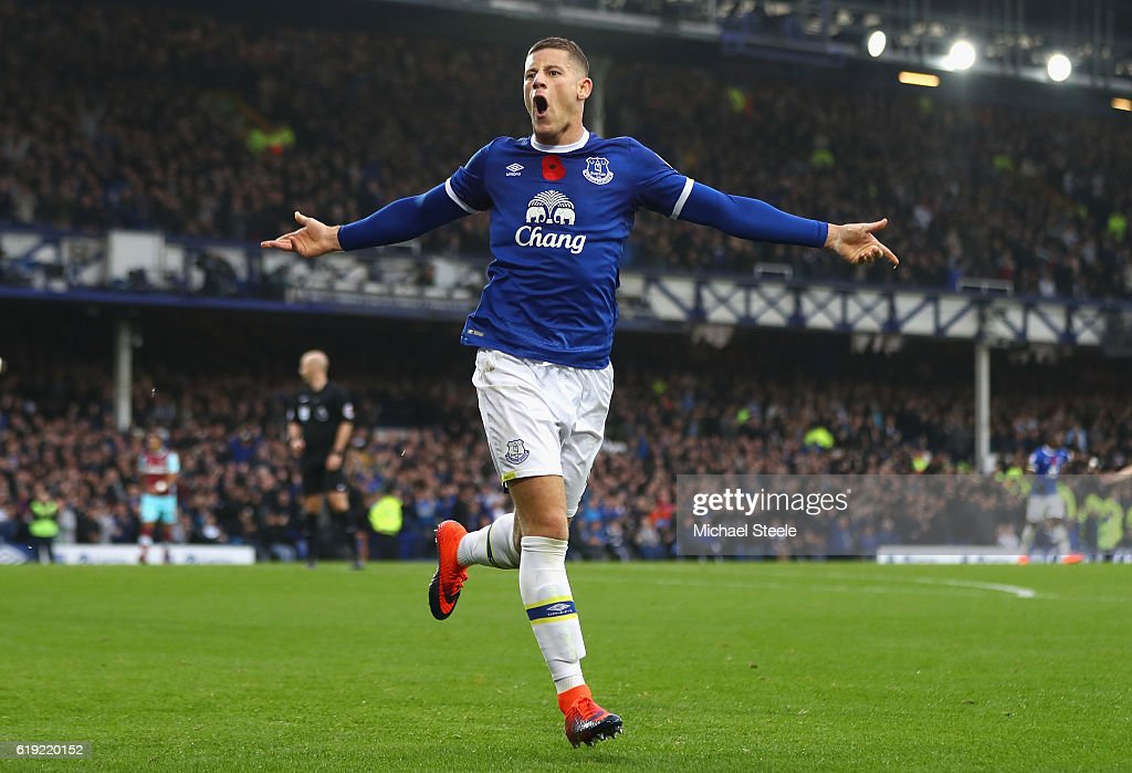 Ross Barkley of Everton celebrates scoring his sides second goal during the Premier League match between Everton and West Ham United at Goodison Park on October 30, 2016 in Liverpool, England.