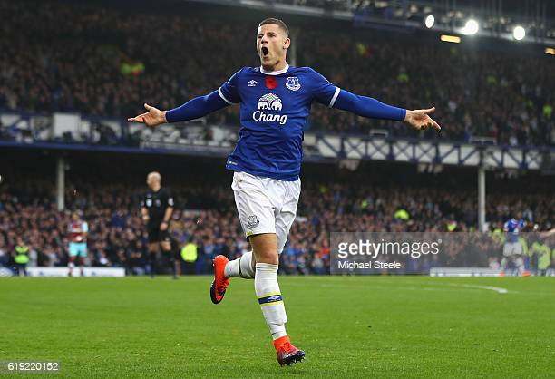 Ross Barkley of Everton celebrates scoring his sides second goal during the Premier League match between Everton and West Ham United at Goodison Park...
