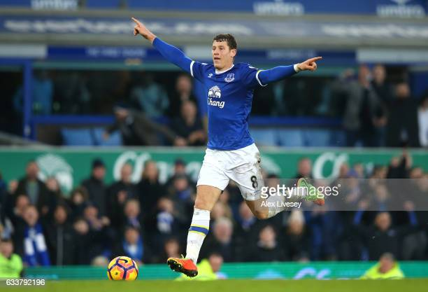 Ross Barkley of Everton celebrates scoring his sides sixth goal during the Premier League match between Everton and AFC Bournemouth at Goodison Park...