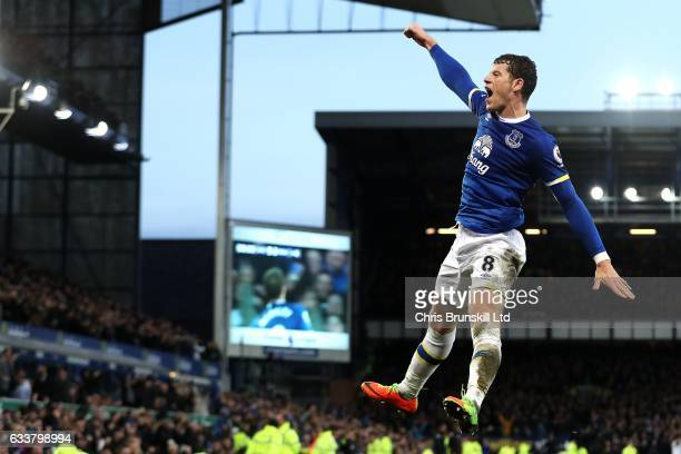 Ross Barkley of Everton celebrates scoring his side's sixth goal during the Premier League match between Everton and AFC Bournemouth at Goodison Park...