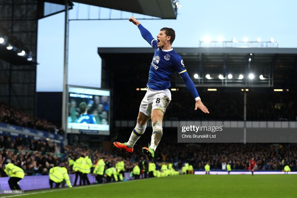 Ross Barkley of Everton celebrates scoring his side's sixth goal during the Premier League match between Everton and AFC Bournemouth at Goodison Park on February 4, 2017 in Liverpool, England.