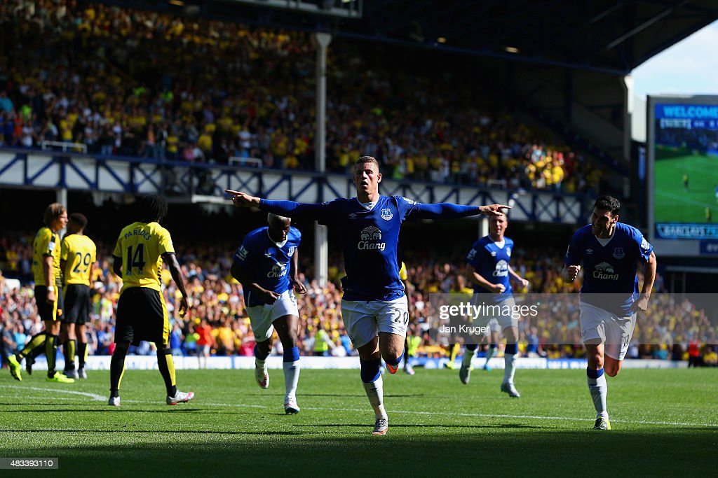 Ross Barkley of Everton celebrates scoring his team's first goal during the Barclays Premier League match between Everton and Watford at Goodison Park on August 8, 2015 in Liverpool, England.