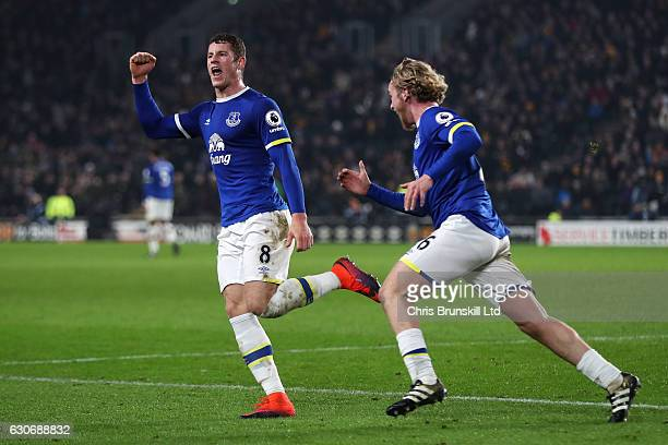 Ross Barkley of Everton celebrates scoring his team's second goal to make the score 22 with teammate Tom Davies during the Premier League match...