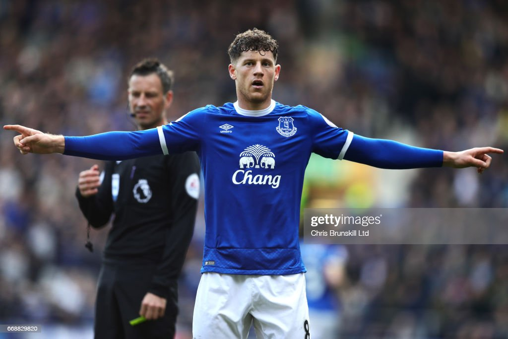 Ross Barkley of Everton celebrates scoring his team's second goal to make the score 2-1 during the Premier League match between Everton and Burnley at Goodison Park on April 15, 2017 in Liverpool, England.