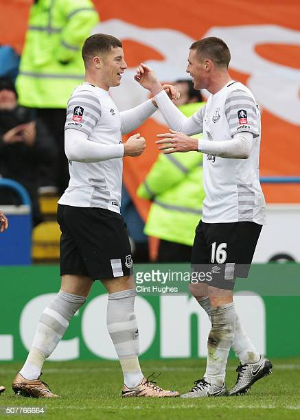 Ross Barkley of Everton celebrates scoring his team's third goal with James McCarthy during the Emirates FA Cup Fourth Round match between Carlisle...