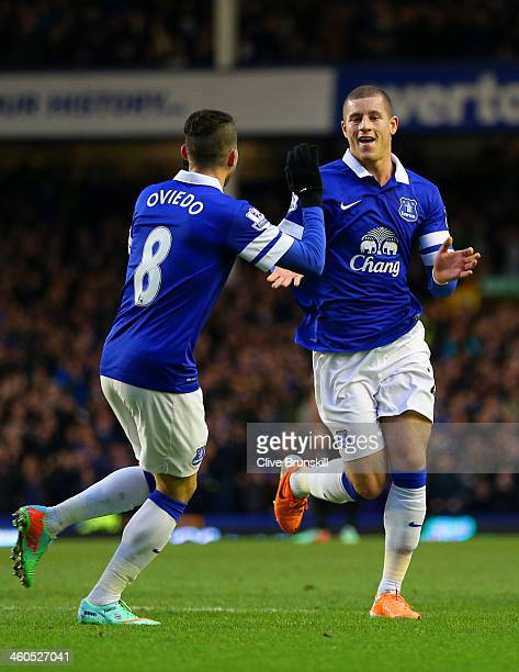 Ross Barkley of Everton celebrates scoring the first goal with Bryan Oviedo of Everton during the Budweiser FA Cup Third Round match between Everton...