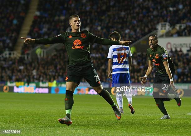 Ross Barkley of Everton celebrates scoring their first goal during the Capital One Cup third round match between Reading and Everton at Madejski...