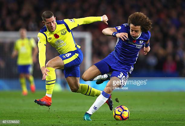 Ross Barkley of Everton fouls David Luiz of Chelsea during the Premier League match between Chelsea and Everton at Stamford Bridge on November 5 2016...