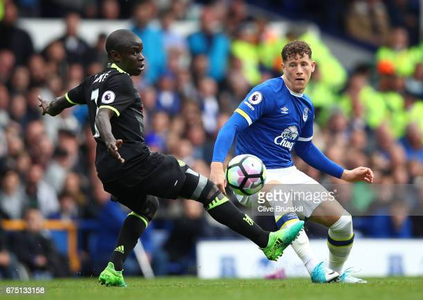 Ross Barkley of Everton gets past N'Golo Kante of Chelsea during the Premier League match between Everton and Chelsea at Goodison Park on April 30...