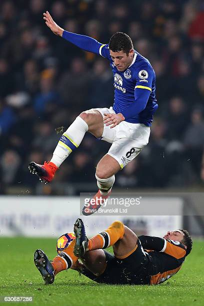 Ross Barkley of Everton is challenged by Jake Livermore of Hull City during the Premier League match between Hull City and Everton at KC Stadium on...