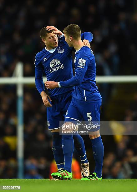 Ross Barkley of Everton is congratulated by teammate John Stones after scoring the opening goal during the Capital One Cup Semi Final second leg...