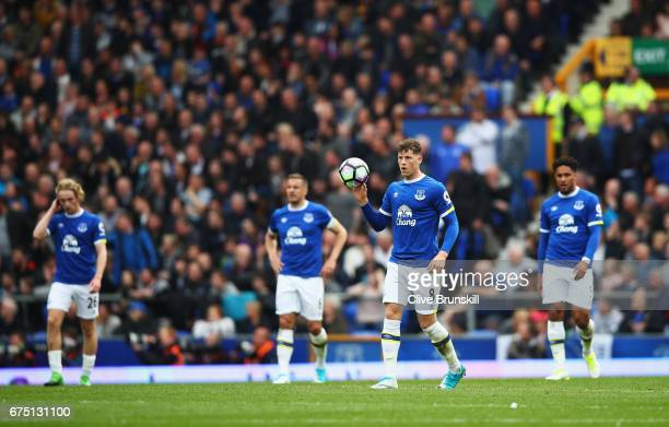 Ross Barkley of Everton is dejected after Chelsea score their first goal during the Premier League match between Everton and Chelsea at Goodison Park...